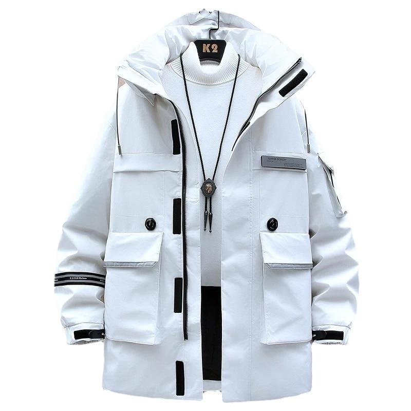 Новинка 2021, зимняя утепленная длинная куртка, Мужская Верхняя одежда с капюшоном, теплая толстовка на 80% белом утином пуху, Мужская ветровка,...