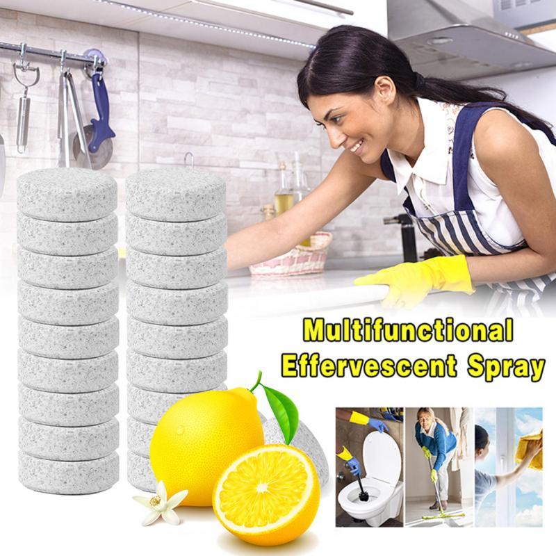Tableta de limón 10/20/30/50/100 Uds. Producto de limpieza efervescente y multifuncional para aerosol concentrado Herramientas de limpieza del hogar para dropshipping