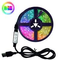 RGB светодиодные лампы 1 м, 2 м, 3 м, 4 м, 5 м, 2835 USB светодиодный ная лента, ИК-лента с дистанционным управлением, Диодная лента для телевизора, гост...