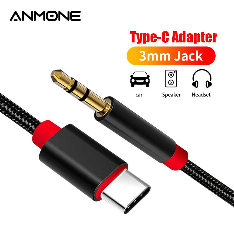 ANMONE USB C to 3.5mm AUX Headphones Type C Car AUX Audio Cable Adapter Headset Speaker Jack Adapter