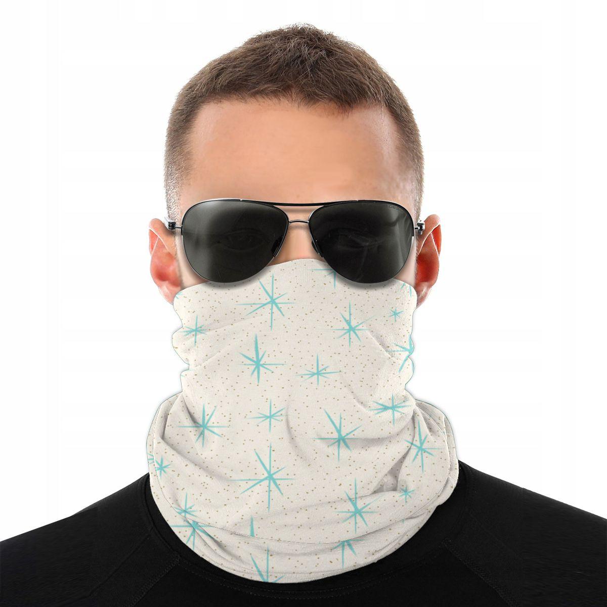Space Age Turquoise Starburst Scarf Neck Face Mask Men Women Fashion Neck Warmer Neck Bandanas Windproof Headband Biking Hiking