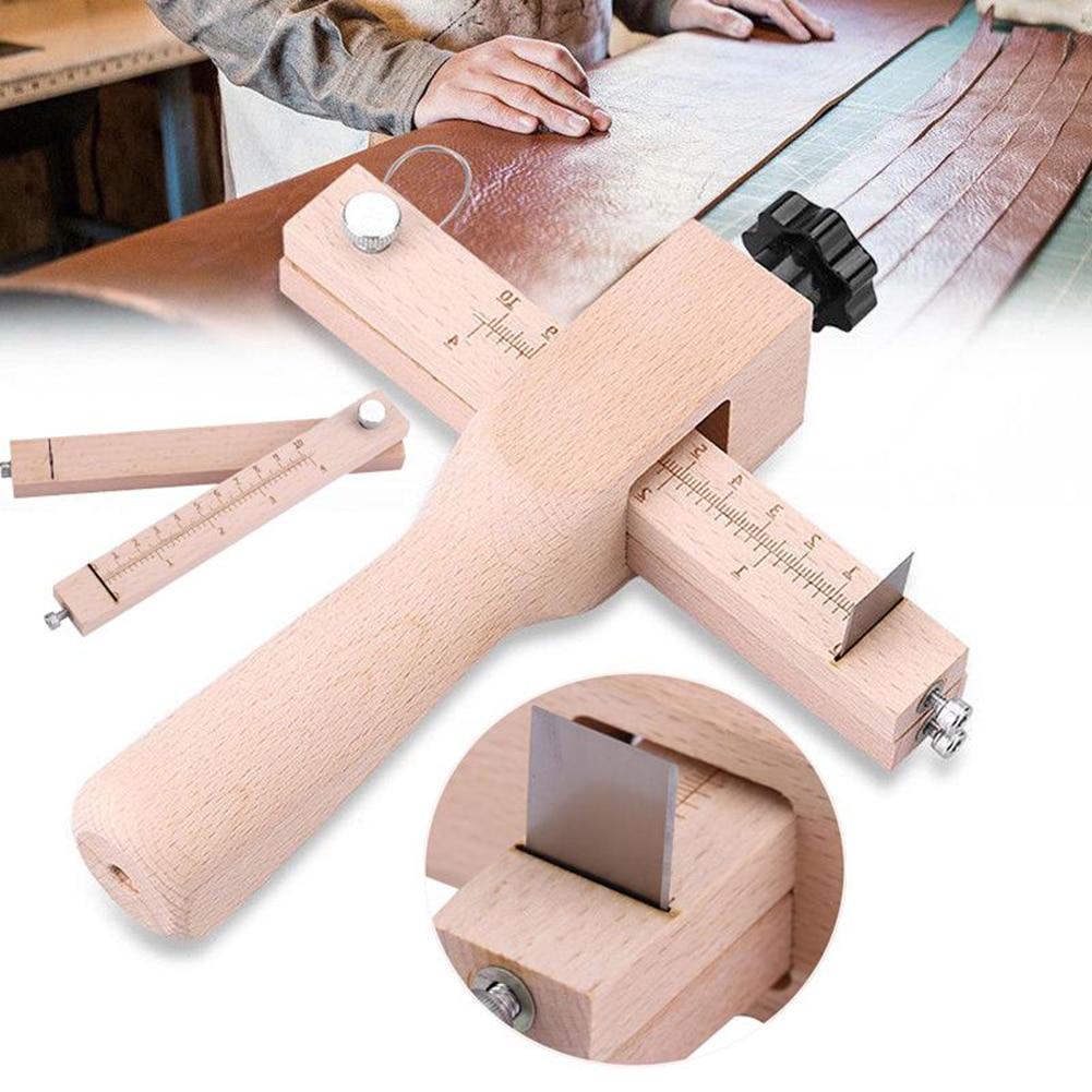 Cortador de correa de cuero ajustable, cinturón de tira para artesanía de cuero, cortador de tira de madera hecho a mano con 5 cuchillas afiladas, herramientas de cuero