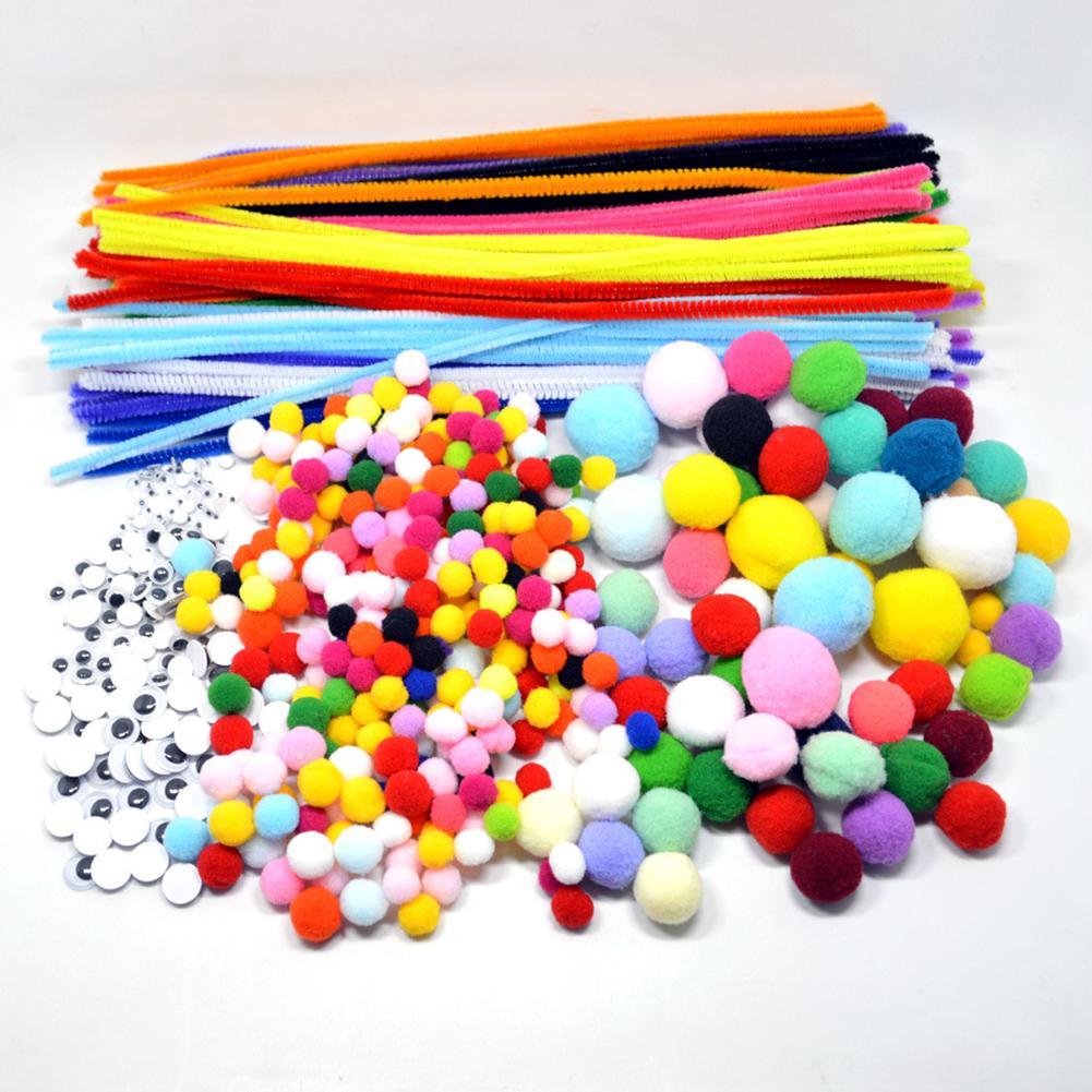 Arco-íris cores de pelúcia varas pompons kit crianças brinquedo diy artesanato arte suprimentos