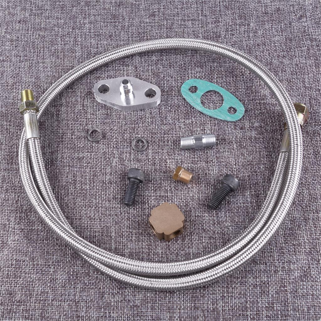 Citall de aço inoxidável universal carro turbo mangueira entrada óleo linha alimentação 1/8 npt adaptador kit para t3 turbocompressor