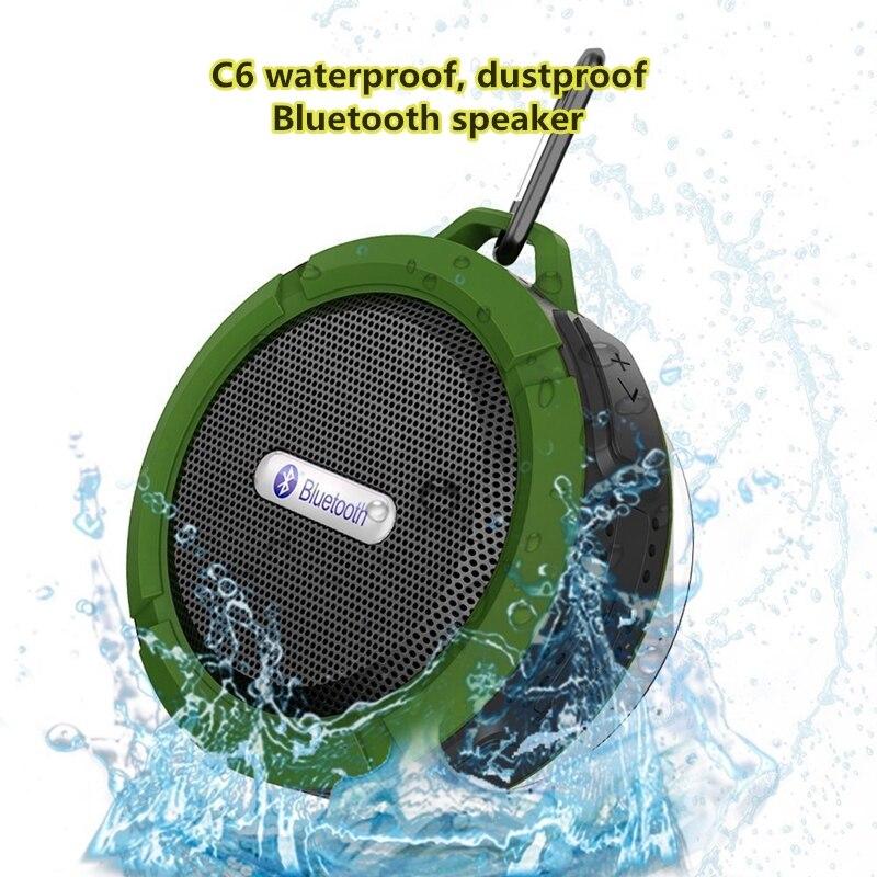 Taşınabilir bluetoothlu hoparlör C6 su geçirmez vantuz kablosuz üç Plug-geçirmez kart açık 3D ses Surround asılı müzik kutusu