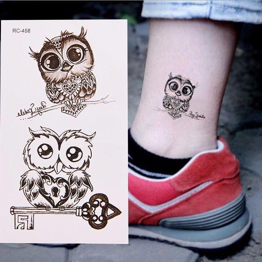 1/5pcsPCS Owl Shaped Temporary Tattoo Sticker Waterproof Non-toxic Easily-operated Body Art Fake Tattoos Tatuajes Temporales
