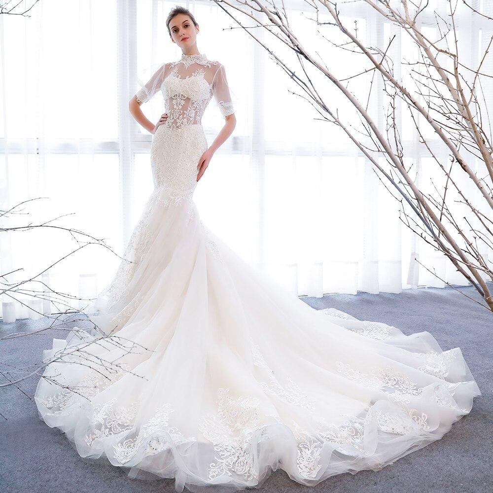 153 vestido de novia sirena vestido de novia con mangas cuello alto apliques para laços vestido elegante