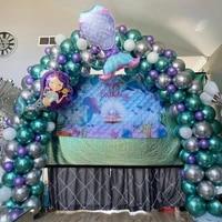 114pcs mermaid tail balloon garland arch set metallic silver green globos little mermaid theme birthday party decoration supplie