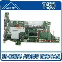 nm b901 for lenovo thinkpad t490 laptop motherboard with cpu i5 8265u 8365u 16gb ram fur 02hk925 01yt399 100 test work