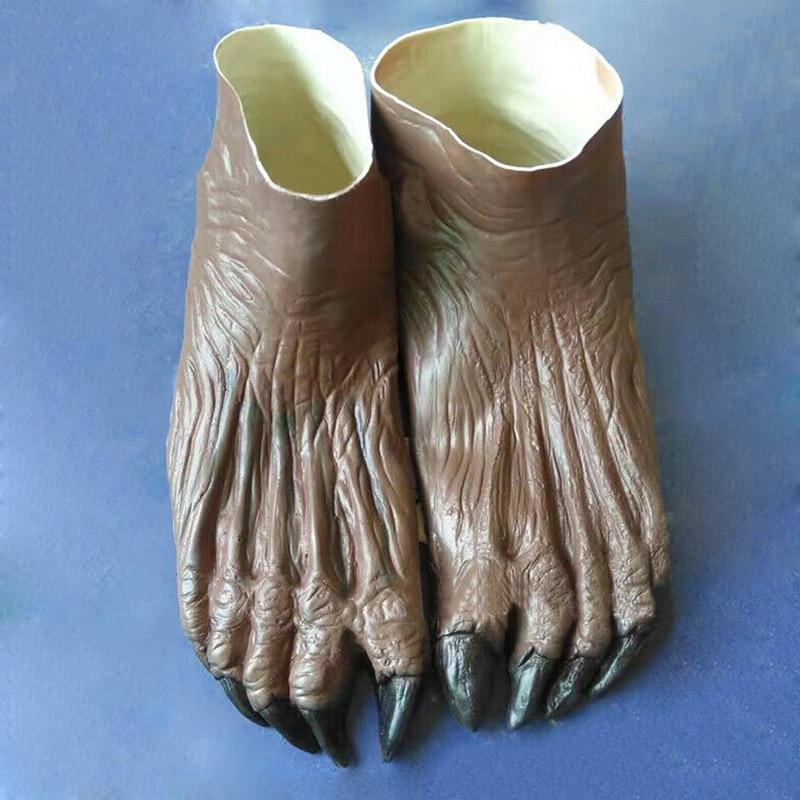 Lobisomem fantasma mãos luvas/pés sapatos adulto halloween fantasia traje suprimentos m09