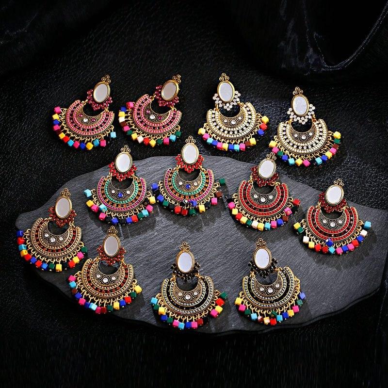 OIQUEI indien Jhumki bijoux gitane ethnique rétro surdimensionné lune forme miroir coloré carré perles gland goutte boucles doreilles pour les femmes