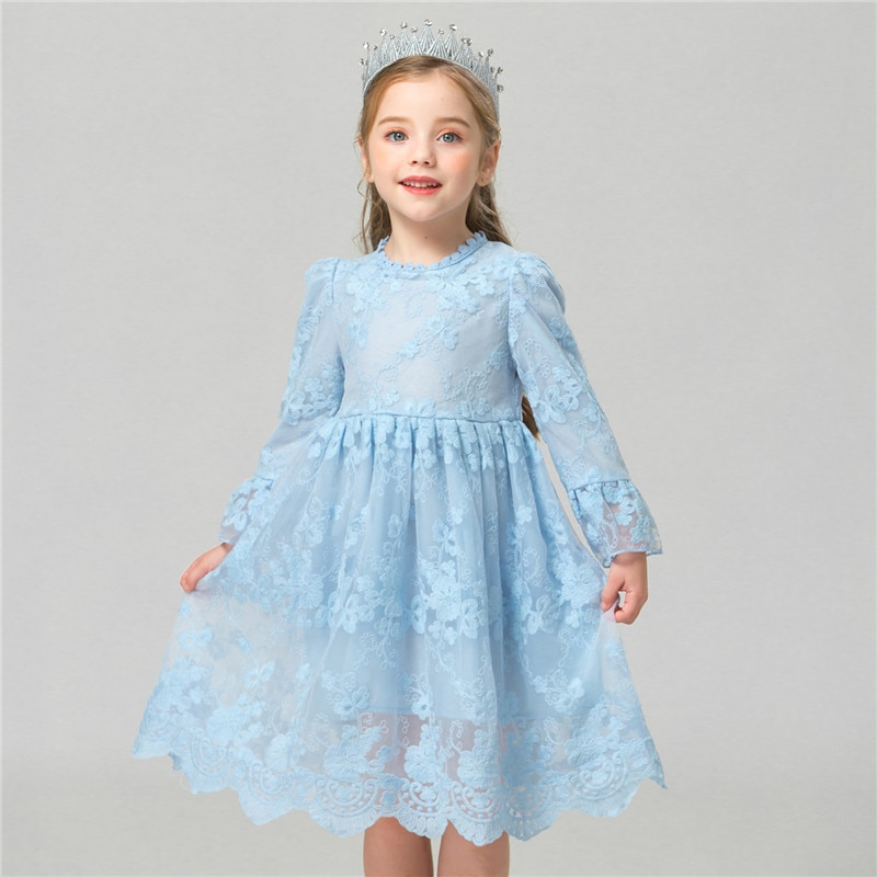 Flower Dress Girl Princess Costume Dresses Girl Party Wear Tulle Kids Children Prom Gown Vestido Formal Dress 4-10 Years