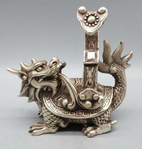 China archaize White copper dragon turtle crafts statue
