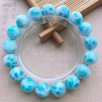 Natural Blue Larimar Gemstone Bracelet Women Men 12mm Stretch Round Beads Larimar Water Pattern Jewelry AAAAAA