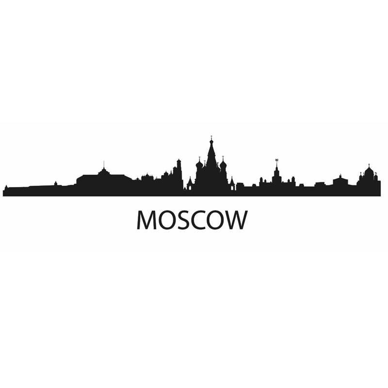 Skyline de Moscú etiqueta de la pared pegatinas de vinilo decoración Mural arte sala de estar decoración del hogar punto de referencia Skyline etiqueta de la pared
