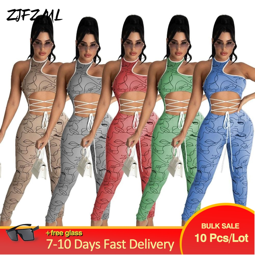 Bulk Items Wholesale Lots Women Sexy Bodycon Jumpsuit Romper Aesthetic Print One Shoulder Asymmetrical Cut Out Fitness Outfits