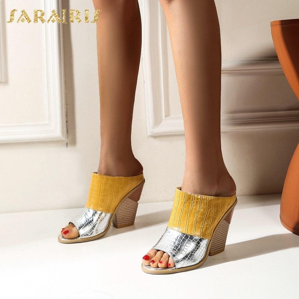 Sarairis 2020 nueva moda Dropship zapatos de tacón alto de verano, las mulas se deslizan Peep Toe, zapatos exteriores de colores mixtos, zapatos de mujer