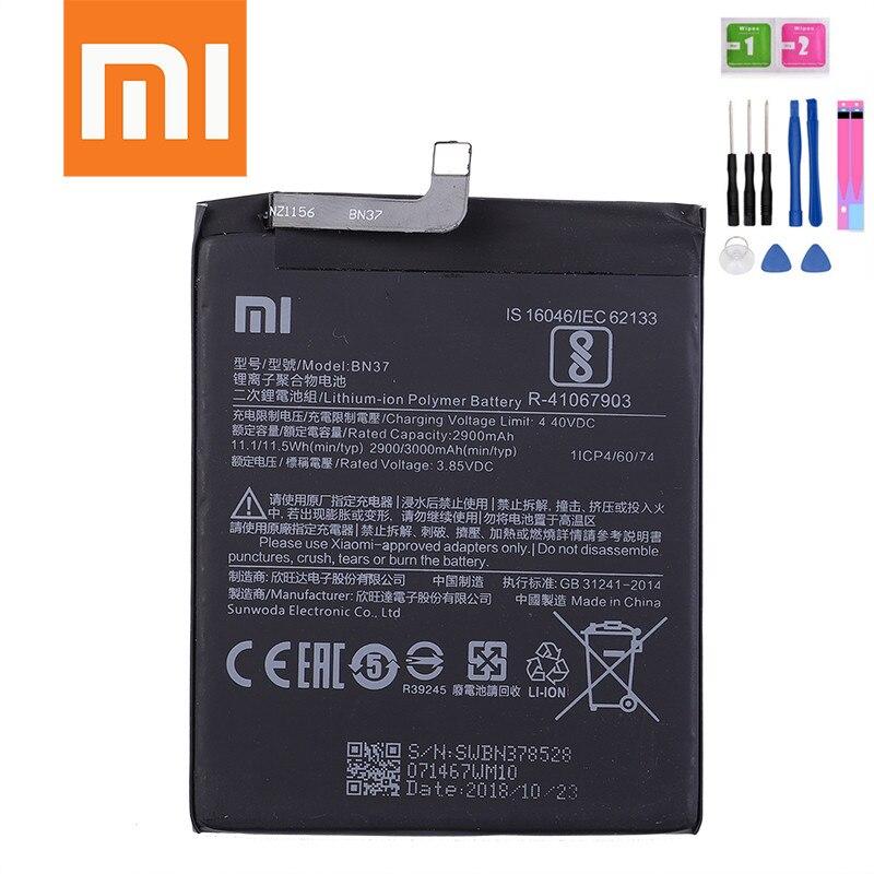 Batería de polímero de litio BN37 para redmi 6, 2900mAh, batería 100% original para teléfono móvil xiaomi BN37 xiaomi redmi 6 + herramientas