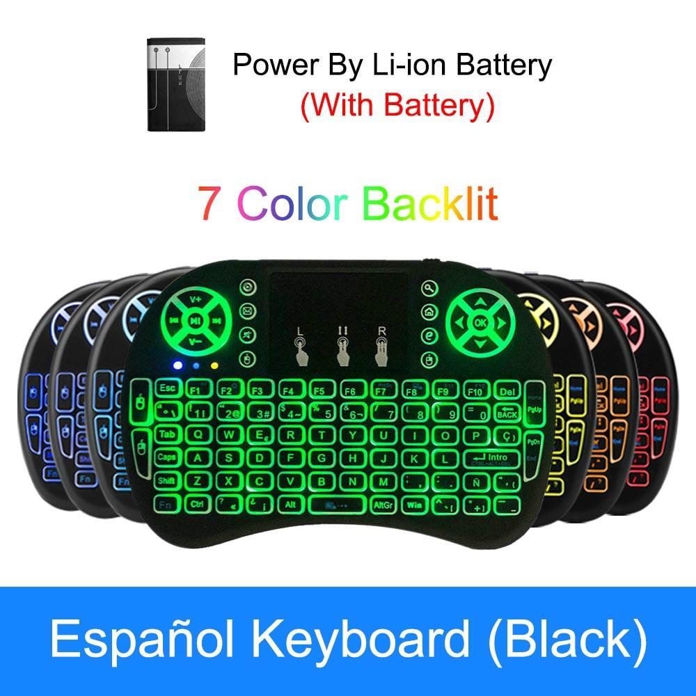 Крутая мини-мышь I8 с подсветкой 2,4G Беспроводная Клавиатура Тачпад Английский Русский Испанский Французский пульт дистанционного управления для Android