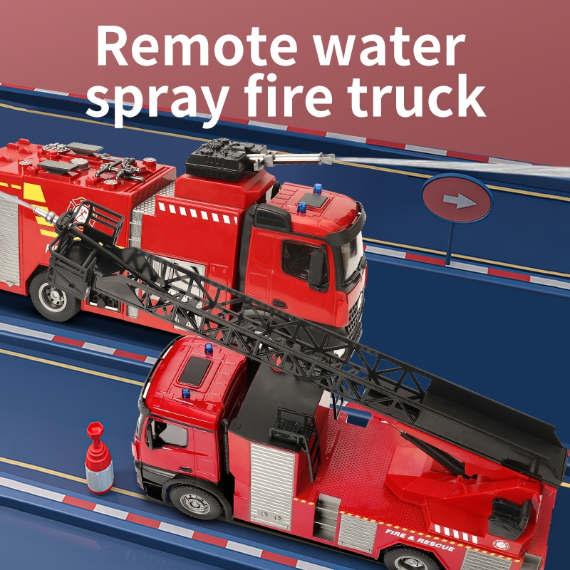2020 version 22 channels 1/14 scale Huina 1561/1562 RC Fire Truck with ladder/water spray  7.4V 1200mAh for over 8 years old enlarge