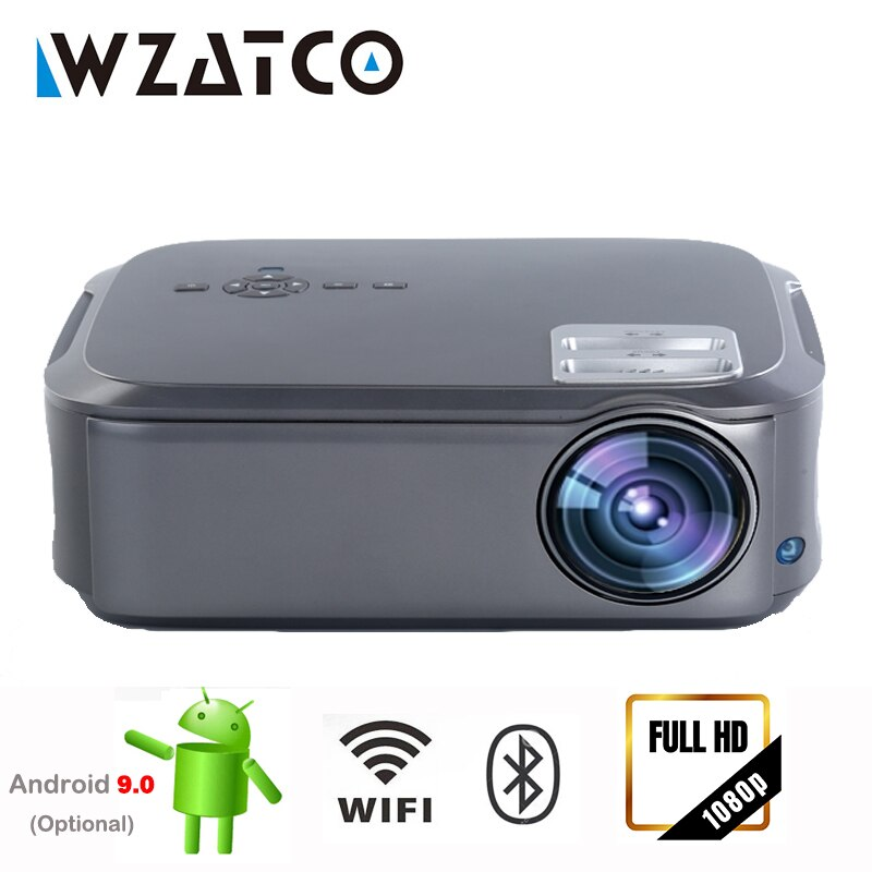 WZATCO T58 LED Proyector 1080P 4K Video en línea Android 9,0 Wifi MINI Proyector inteligente Multi-pantalla Beamer cine en casa