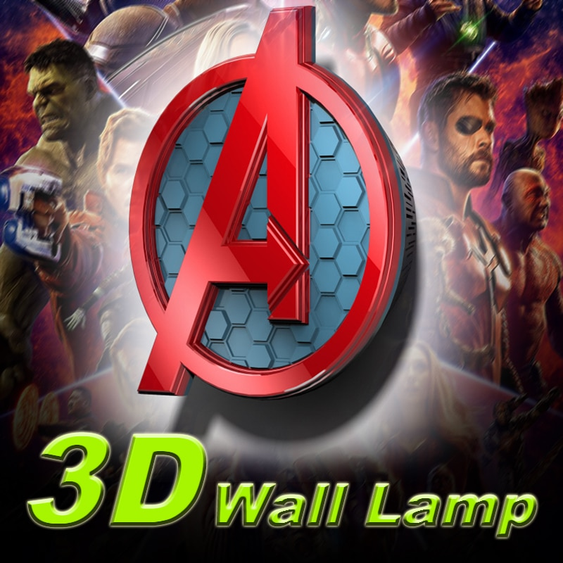مصابيح حائط من مارفل أفنجرز بشعار الديكور مصابيح جدارية بإضاءة LED ثلاثية الأبعاد إبداعية هدايا ساخنة ديكور داخلي لغرفة Aplique Pared