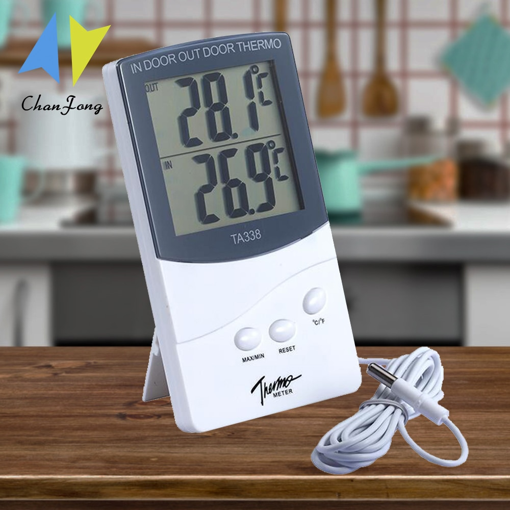 ChanFong Indoor and Outdoor Thermometer High-precision Electronic with Probe Type Double Display Thermometer
