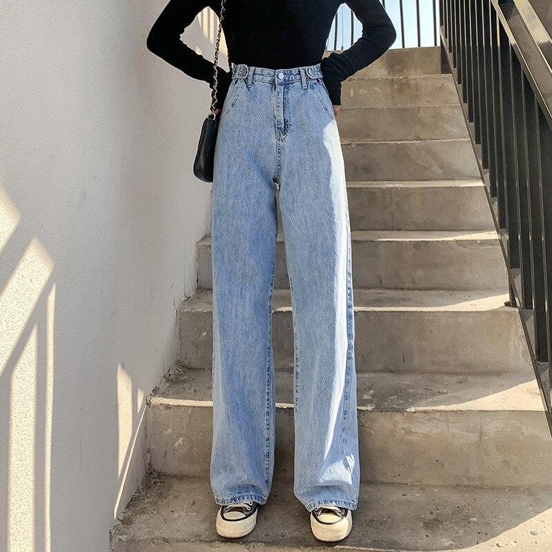 Джинсы женские прямые с завышенной талией, свободные брюки-трубы с широкими штанинами и завышенной талией, тонкие джинсы, винтажная женская...