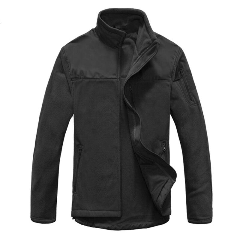 Chaqueta de lana negra para acampar al aire libre con múltiples bolsillos chaqueta táctica militar cálida