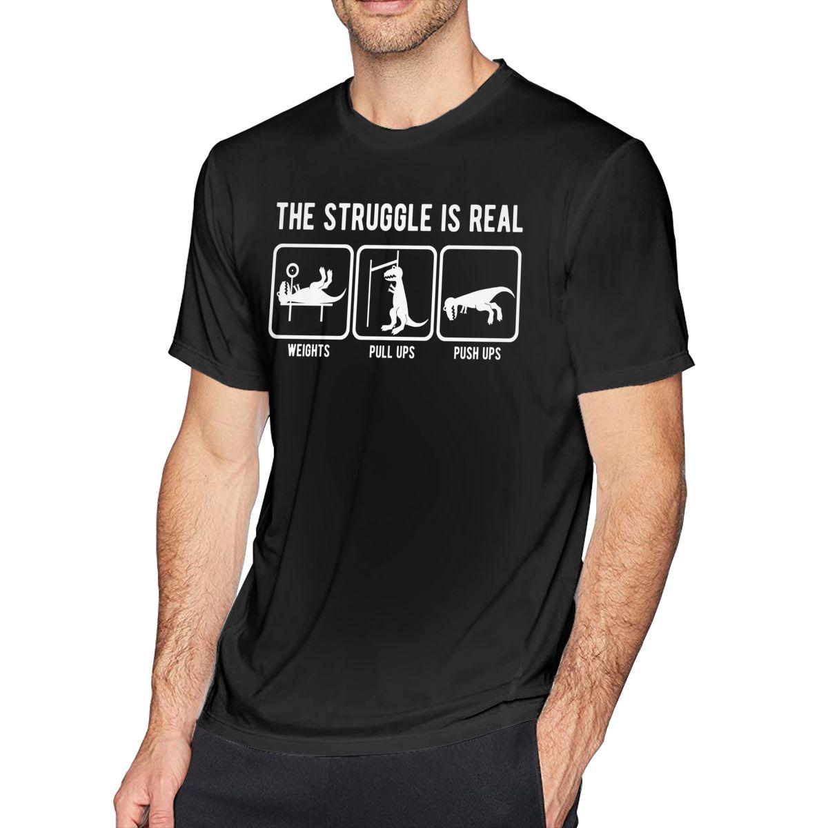 T-rex t camisa a luta é real t-rex ginásio treino camiseta impressionante 100 algodão camiseta casual tshirt
