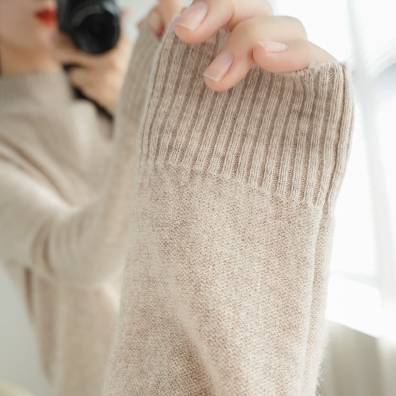 Snaoutofit 2021 Autumn Winter,Pure Wool,Women's Sweater,Half High Collar,Long Sleeve,Pullover,Wild,Basic,Knitted,Warm Tops,XL enlarge