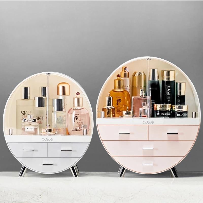 Acrylic Transparent Cosmetic Box Double-door Makeup Organizer Desktop Waterproof Case Storage Boxs