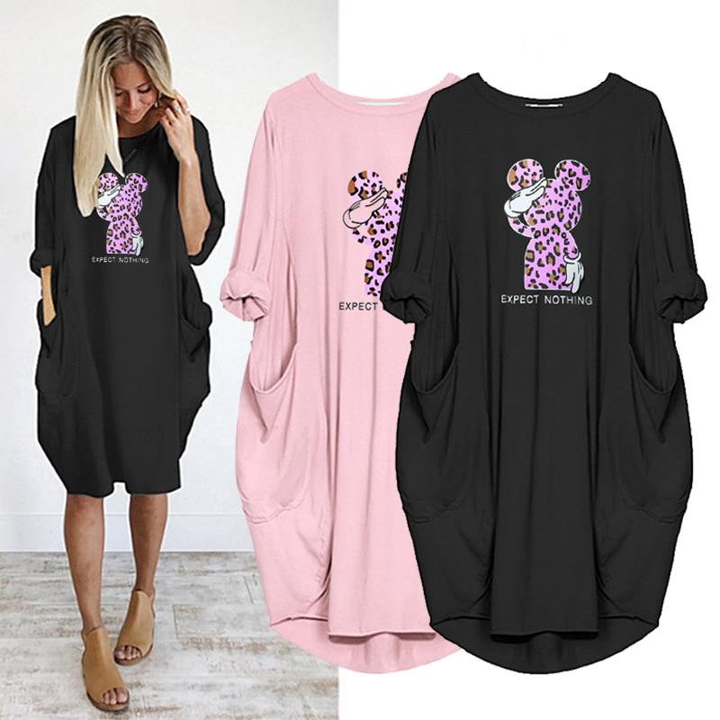 Plus Size Women Dresses Leopard Mickey Print Plus Size Midi Dress Pocket Long Sleeve Robes Femme Autumn Vintage Casual Vestidos