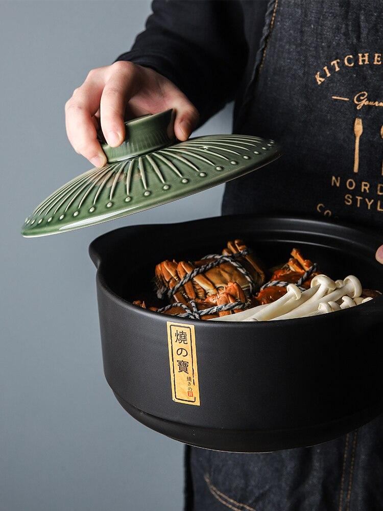 كسرولة من السيراميك المنزلية قدر إناء للحساء سعة كبيرة عالية مقاومة للحرارة Claypot الأرز عصيدة