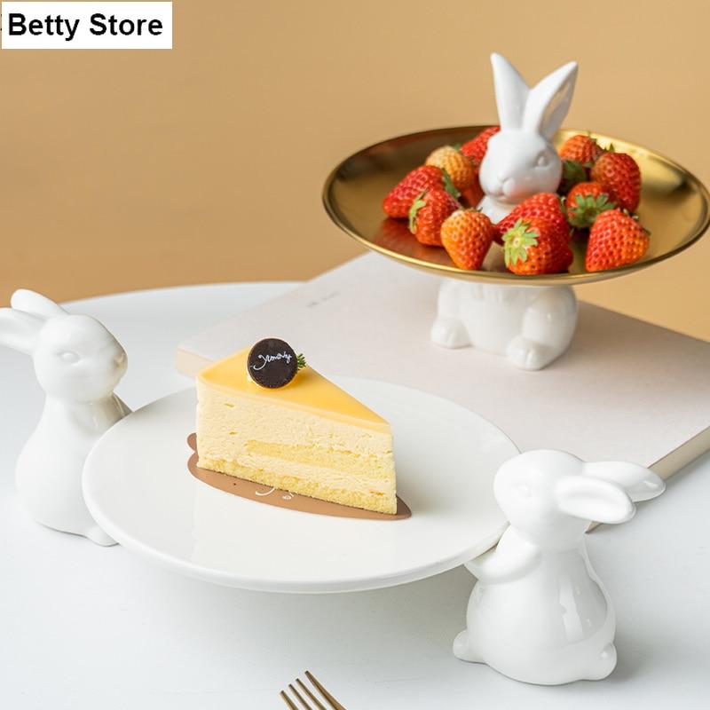الأوروبي الكرتون الأرنب كيك تحلية لوحة الأبيض السيراميك لطيف الحيوان أطباق فاكهه شاشة لسطح المكتب صينية أواني المطبخ الخزف
