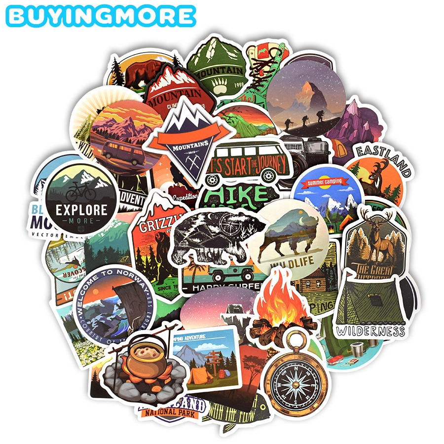 AliExpress - 50 PCS Camping Landscape Stickers Outdoor Adventure Climbing Travel Waterproof Sticker to DIY Suitcase Laptop Bicycle Helmet Car