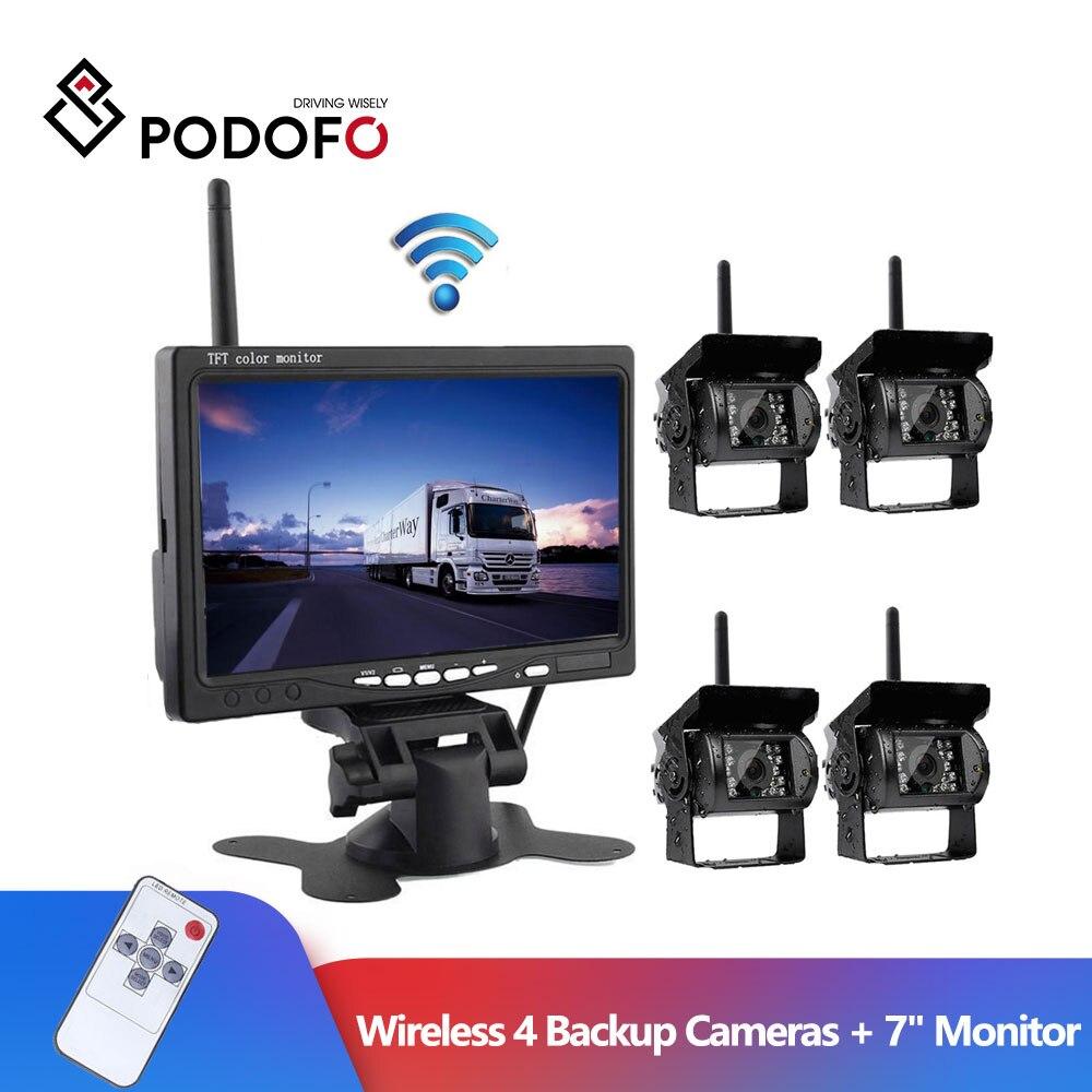 Беспроводная камера заднего вида Podofo, 7 дюймов, инфракрасная Водонепроницаемая камера ночного видения для автобусов и грузовиков