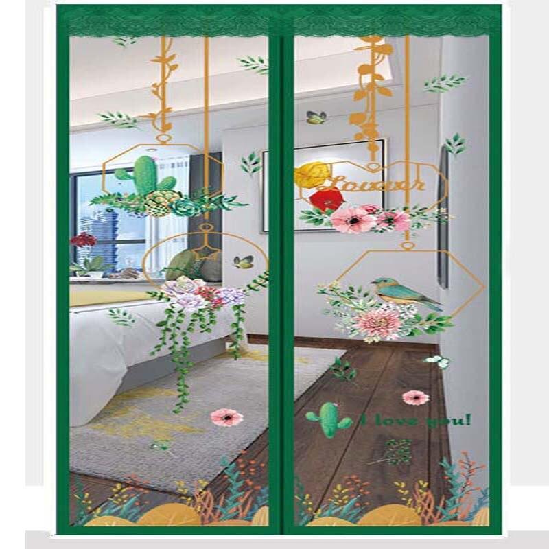التطريز الأخضر النبات الصيف مكافحة البعوض الحشرات يطير علة الستائر المغناطيسي شبكة المنزل غرفة نوم صافي عالية الكثافة إغلاق الشاشة
