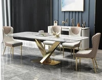 nordic marble luxury dining table and chair combination post modern minimalist italian dining table stainless steel rectangular