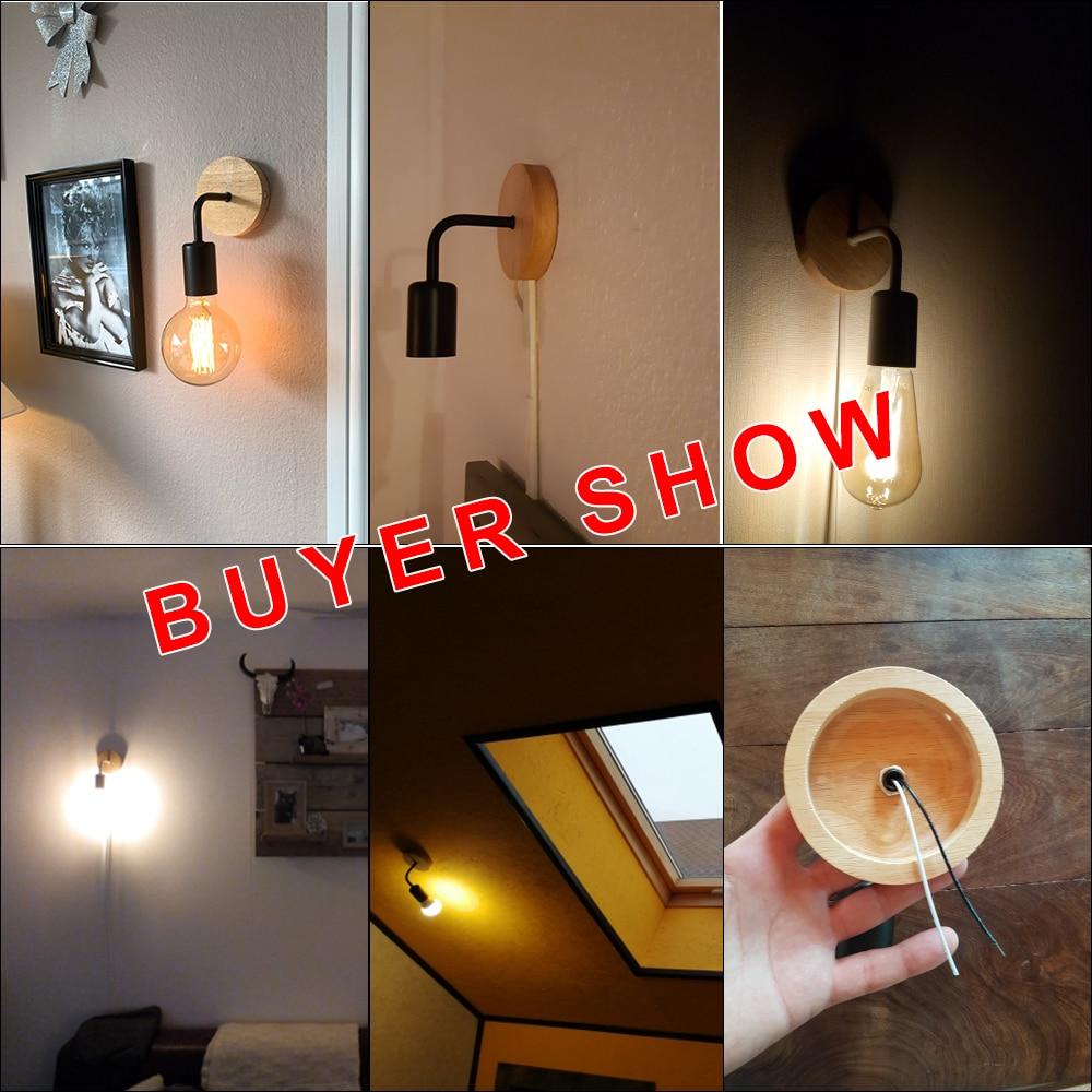 Wood Wall Lamp Vintage Sconce Wall Lights Fixture E27 110V 220V Bedside Retro Lamp Industrial Decor Dining Room Bedroom Light
