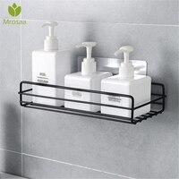 Wall Hanging Rack Wrought Iron Shelf Punch-free Toiletries Storage Rack Organizer Drain Shower Shelf Holder Kitchen Accessories