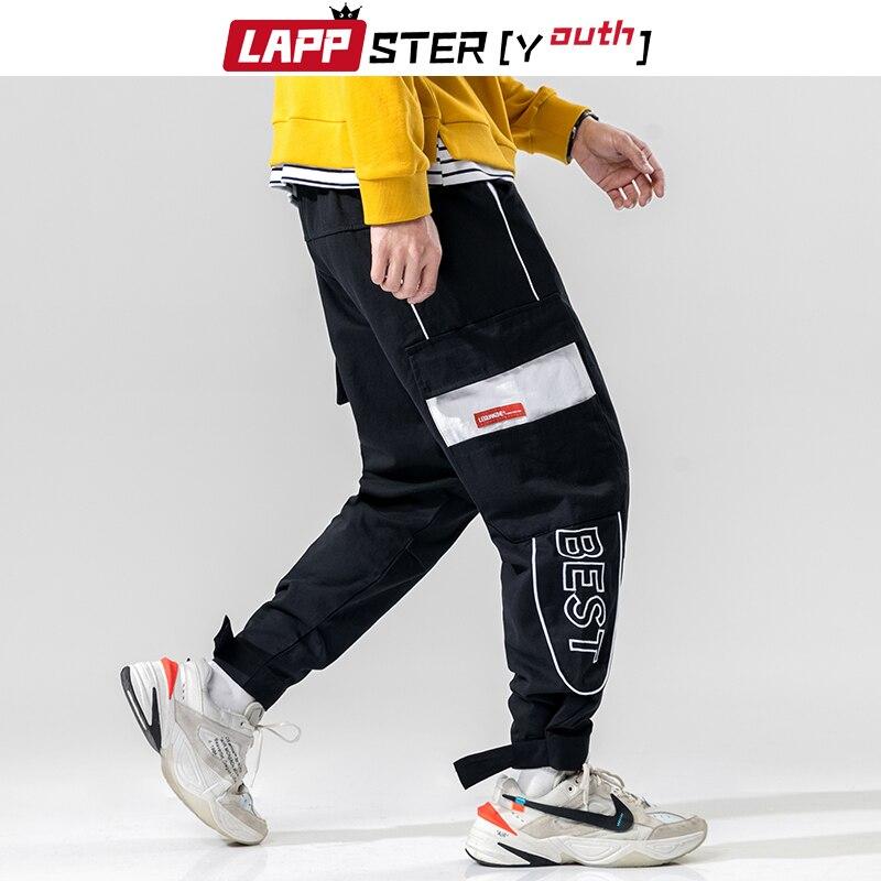 Pantalones de calle con bordado de LAPPSTER, pantalones Harme para hombre, pantalones Cargo 2020, pantalones de chándal negros de retales para hombre, pantalones de talla grande