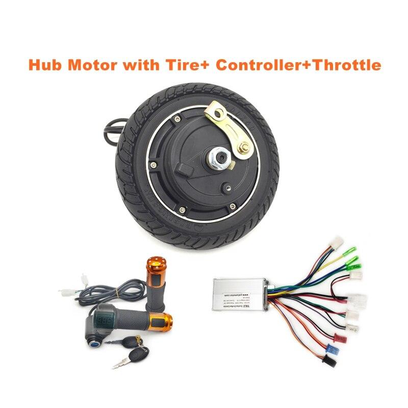 Patinete eléctrico de arranque de 24V, 36V, 48V, 350W, 8 motores de cubo pulgada con neumático y controlador Digital de acelerador para bicicleta eléctrica, Kit de rueda central de coche
