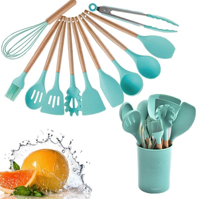 12 قطعة أدوات الطبخ سيليكون مجموعة غير عصا ملعقة مجرفة مقبض خشبي طقم أدوات الطبخ مع صندوق تخزين أدوات مطبخ