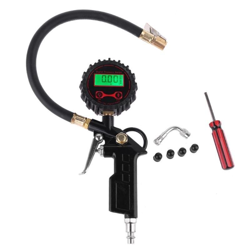 Digital Tire Pressure Gauge Tire Inflator Gauge 250 PSI with 4 Valve Cap Vehicle Car Tester Inflation Monitoring
