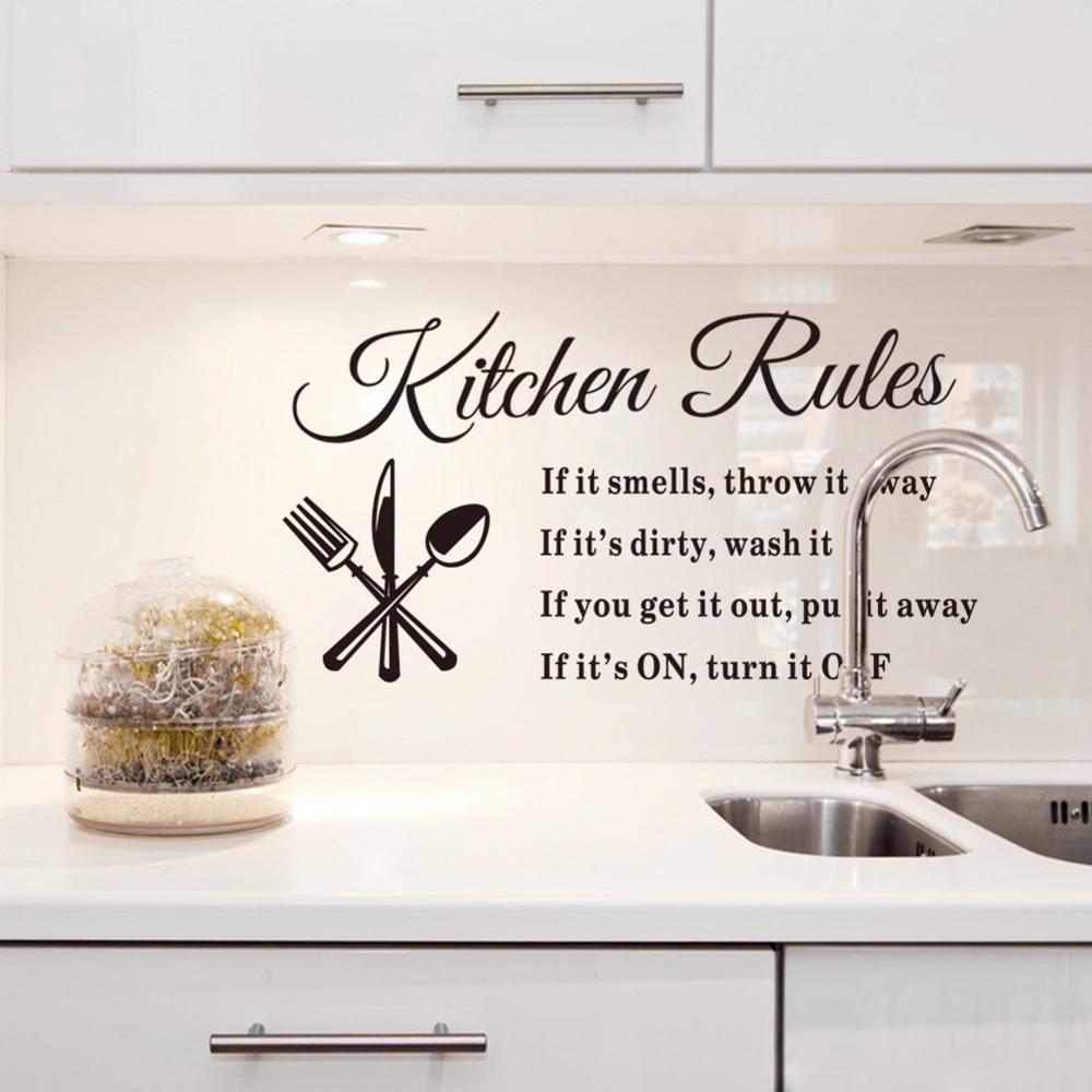 "Pegatinas de pared de reglas de cocina ""si huele, tírelo si está sucio, lávalo"" calcomanías de diseño hermoso para decoración del hogar"
