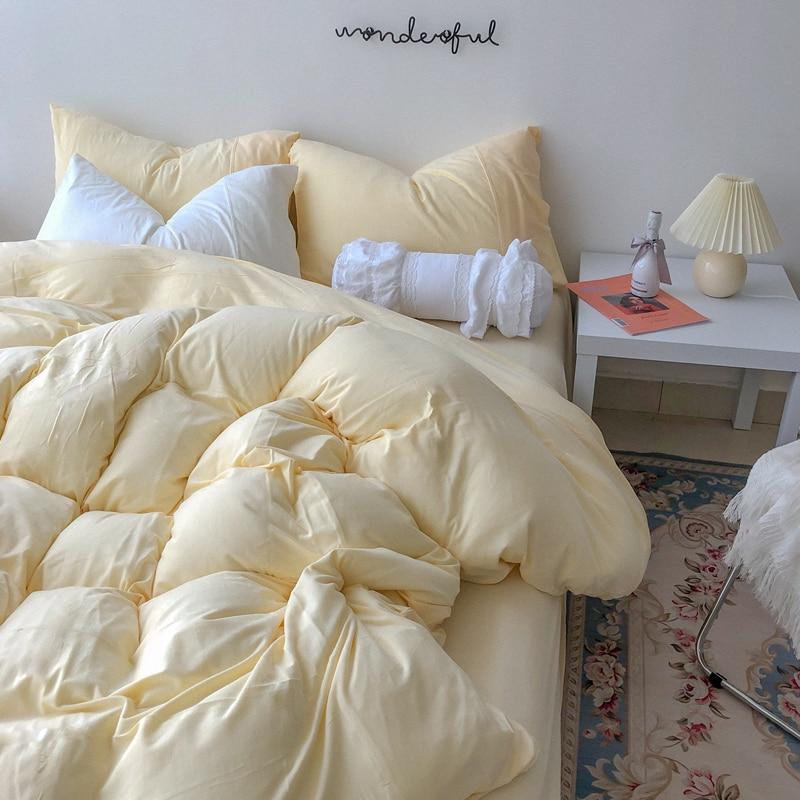الضوء الأصفر لينة محبوك القطن أربع قطع مجموعة جميع القطن الخالص لحاف من القطن غطاء غطاء سرير 1.5/1.8 متر السرير