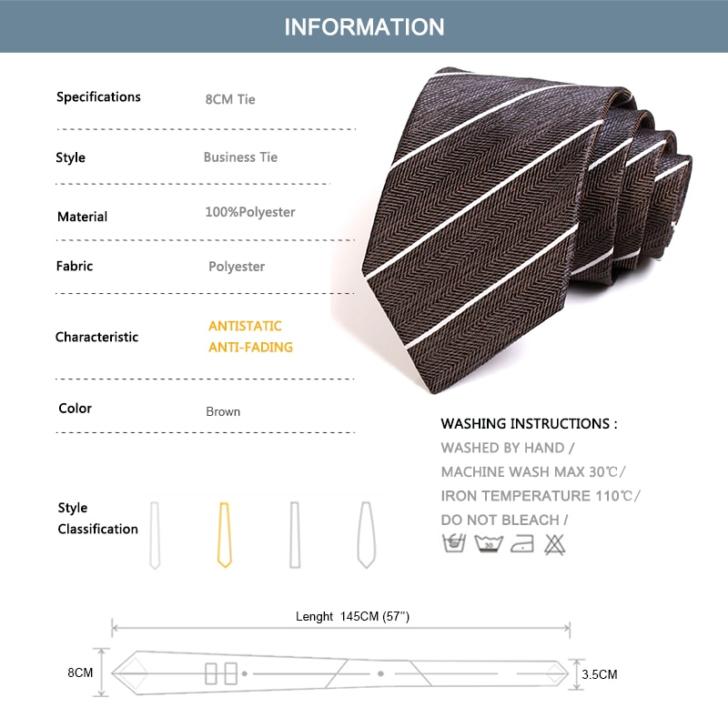 2020 New Design Classic Brown Striped Tie High Quality 8CM Wide  Ties For Men Business Suit Work Necktie Fashion Formal Neck Tie