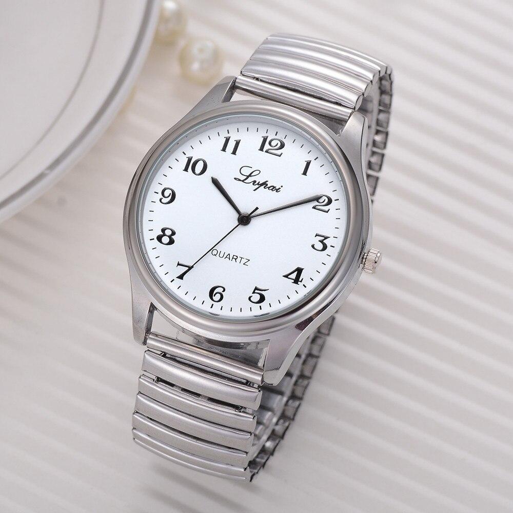 Relógio feminino casual quartzo aço, relógio de pulso relógio analógico pulseira telescópica ye1
