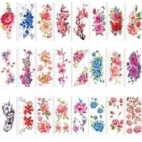 1pc rose artificial flowers arm shoulder tattoo stickers flash henna fake waterproof temporary tattoos sticker women on body